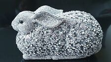Silver Color~ Clear Handmade Austrian Crystal Rabbit 3D Shaped Cocktail Bag