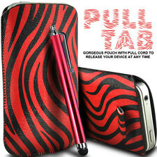 LEATHER POLKA & ZEBRA PULL TAB CASE POUCH+  STYLUS FOR VARIOUS HTC MOBILES