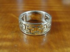 Silver 925 Ring Size 5 3/4 Lcf signed Maze Like Pattern Band Sterling