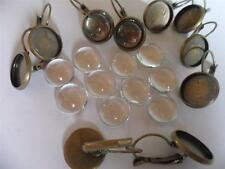 10 x 12mm Earring Making Kit  Antique Bronze leverbacks and glass FREE DELIVERY