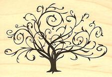 Fall Flourished Tree Wood Mounted Rubber Stamp INKADINKADO 97163 New