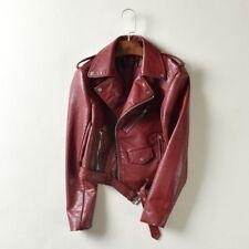 Ladies  Leather Racing Style Biker Jacket Black Red Motorcycle Waterfall Coat US
