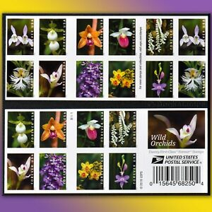 20 Orchid Flowers Forever Stamps US Postage Wild Lady Slipper Three-bird orchids