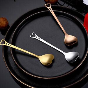 Stainless Steel Heart Shape Coffee Spoon Dessert Sugar Stirring SpoonsWOAU