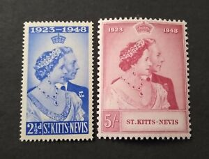 St. Kitts-Nevis 1949 Silver Wedding set SC #93-94 MNH