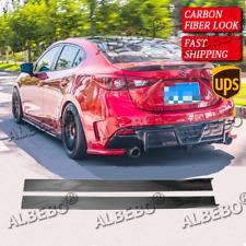 For Mazda 3 Carbon Fiber Look Side Skirt Extension Rocker Splitters Lip 78.7