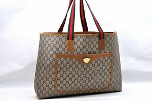 Auth GUCCI GG Plus Web Sherry Line Shoulder Tote Bag PVC Leather Brown A1718