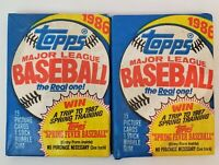 Sealed 2 Pack 1986 TOPPS Major League Baseball Cards 15 Card Set w/ Bubble Gum