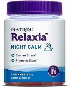 Natrol Relaxia Night Calm 50 Gummies - Berry Flavor - 100% Drug Free