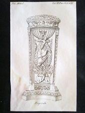 Raffigurazione di un tripode Incisione all'acquaforte del 1820 Mitologia Pozzoli