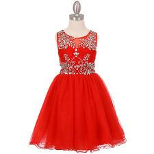 RED Flower Girl Dress Birthday Pageant Wedding Recital Bridesmaid Dance Formal