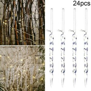 24pcs/Set Clear Glass Icicle Ornaments-Winter Decorations For Christmas Tree US
