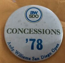 Vintage 1978 Andy Williams San Diego Ouvert Golf Broche Dos Concessions Aw Sdo