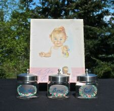 Vintage 40's Baby Shower Set, Baby Book by; Dr. DaFoe, Three hand-painted jars*