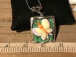 Recycled Broken Porcelain Jewelry, Embossed Butterfly Pendant