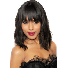 Fashion Short Wavy Women Wigs Natural Black Curly Synthetic Wigs with Bangs