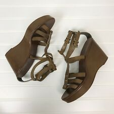 J Crew T Strap Irena Gladiator Wedge Brown Made in Italy Leather Shoes 33064