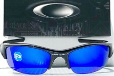 NEW* Oakley FLAK JACKET Black w Galaxy POLARIZED Blue & Grey Lens Sunglass 9008