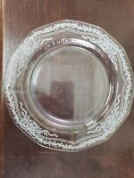 "Fostoria Glass June 7 1/2"" Etched Salad Plates Ribbons Bows Flowers"