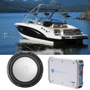 """KICKER 45KM104 10"""" 350w Marine Boat Subwoofer + Amplifier SVC 4-ohm Sub KM10"""