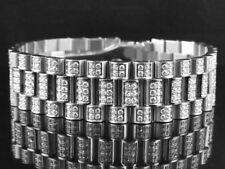 Men's 18k White Gold Finish Stainless Steel Presidential Lab Diamond Bracelet 18