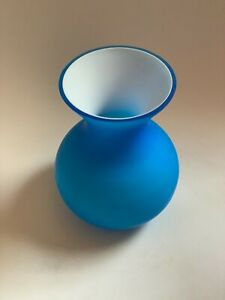 Carlo Moretti Contemporary Modernist Frosted Blue Cased Vase