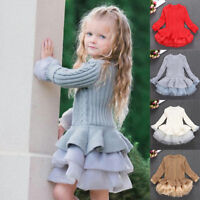Baby Kids Girls Knit Sweater Jumper Pullovers Crochet Tutu Dress Tops Clothes
