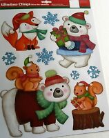 CHRISTMAS Window Cling CHRISTMAS ANIMALS/FOX,BEAR,SQUIRREL'S