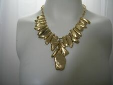 CHICO'S EGYPTIAN REVIVAL GOLD TONE PENDANT STATEMENT NECKLACE