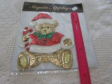 """Christmas Teddy Bear Bead/Sequin Applique Sew-On Sequined Patch 7x9"""" Nip"""