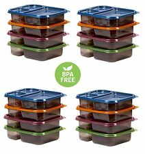 16 Meal Prep Containers Food Storage 3 Compartment Plastic Reusable Microwavable