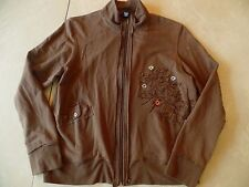 ladies KAKTUS BROWN JACKET stretchy FLOWERS fall spring ZIPPER lightweight LARGE