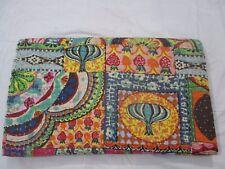 Vintage Kantha Bedspread Throw Cotton Blanket Gudari Queen Indian Handmade Quilt