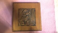 "Vintage Folk Art - 6"" x 6.5"" Hammered Copper Image Cocker Spaniel - Wood Plaque"