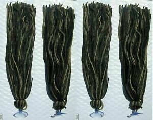 "Four 17"" Spawning Mops Camouflage 100 Strands + Suction Cup Killifish Tetra Gup"