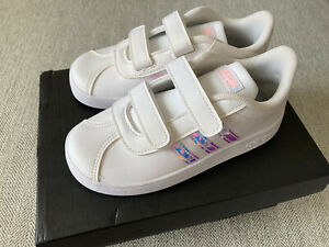 Toddler girl adidas VL Court 2.0 shoes White Pink Size 10