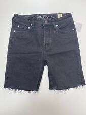 Free People Long Cut-Off Denim Shorts. Black. Waist 26 inches