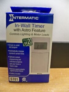 NEW INTERMATIC ST01 DIGITAL IN WALL TIMER WHITE W/ASTRO FEATURE FREE 1ST CLS S&H
