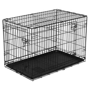 """Double-Door Folding Dog Crate with Divider Large 42"""" Wire Kennel Removable Tray"""