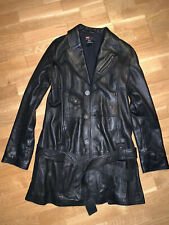 DIESEL Ladies  Black Real Leather Long  Jackets Trench Size M