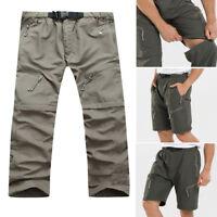 Men's Quick Dry Detachable Long Pants Shorts Outdoor Hiking Cargo Trousers