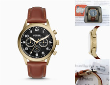 FOSSIL Mens Wrist Watch FLYNN Chronograph Pilot Brown Leather Watches BNIB R£129