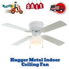 "42"" Hugger Metal Indoor Ceiling Fan with Single Light, White, 4 Blades, Led Bulb"