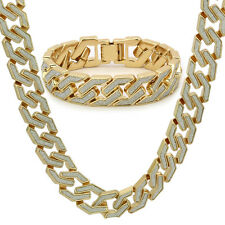 Men Gold Finish STARDUST SANDSTONE HipHop Square Cuban Chain Necklace & Bracelet