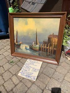 Vintage Signed Oil Painting Harbor Scene Boats storm on canvas framed original