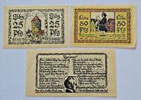 LUBZ NOTGELD 25, 50, 75 PFENNIG 1923 COMPLETE SET GERMANY BANKNOTE(S) (5623)