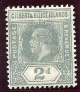 Gilbert & Ellice Is 1916 KGV 2d greyish slate MLH. SG 14. Sc 16.