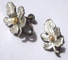 boucle d'oreille à vis ancien bijou vintage feuille argent pur perle nacrée 3419