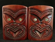 "Pr.Vintage New-Zealand Maori Hand Carved Wood (matai) Bookends,  5 ¾"" t."