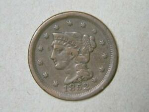 1853 LARGE CENT BRAIDED HAIR FINE CONDITION #5051 glb